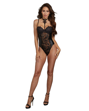 Venice Lace and Faux Leather Collared Teddy Teddy Dreamgirl International