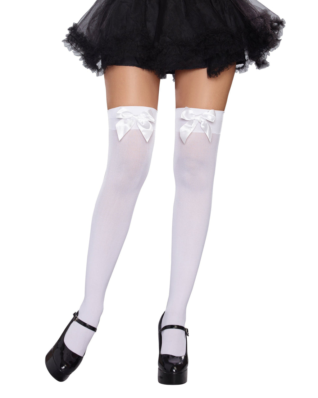 Versatile Bow Top Stockings Costume Hosiery Dreamgirl Costume One Size White