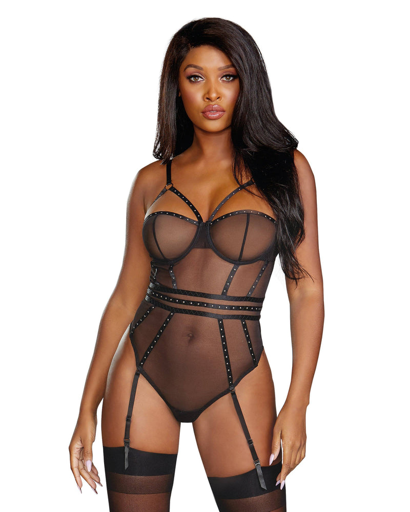 Very Sheer Stretch Mesh Underwire Studded Teddy Teddy Dreamgirl International