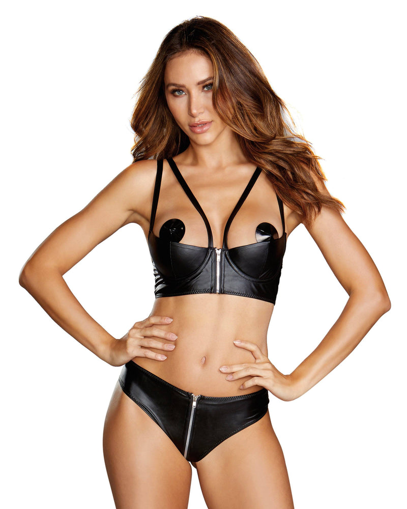 Zipper Shelf Bra & Open-Back Thong Bra Set Dreamgirl International