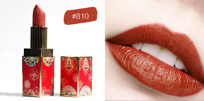 Chinese lipstick Florasis Carving Lipstick Matte Moisturizing Waterproof Long Lasting For Red Lips Makeup China Cosmetics Flower