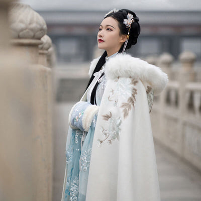 Velvet Cloak Ancient Chinese Style Woolen Autumn Winter Costume