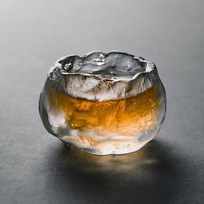 Chinese Handmade Traditional Transparent Liuli Ice-stone Teacup Set