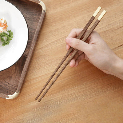 Chinese Traditional Tableware Kit - Wooden Chopsticks + Stainless Steel Spoon