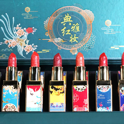 Chinese Classical Style Relief Carving Flower Lipstick Set (8 Pcs)