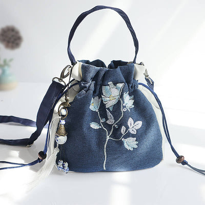 Chinese Classical Handmand Han Element Embroidered Antique Canvas Hanfu Portable Bag