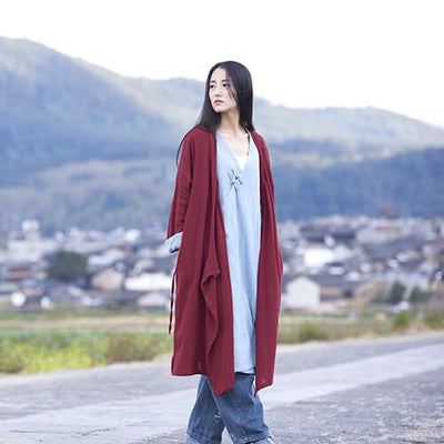 Loose Cotton And Linen Retro Hanfu Long Section Shirt - Li Ziqi Fairy Style Clothes Hanfu Style