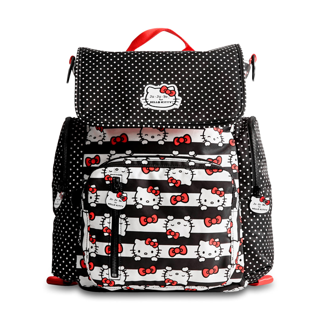 JU-JU-BE BE SPORTY CONVERTIBLE BACKPACK - HELLO KITTY DOTS AND STRIPES