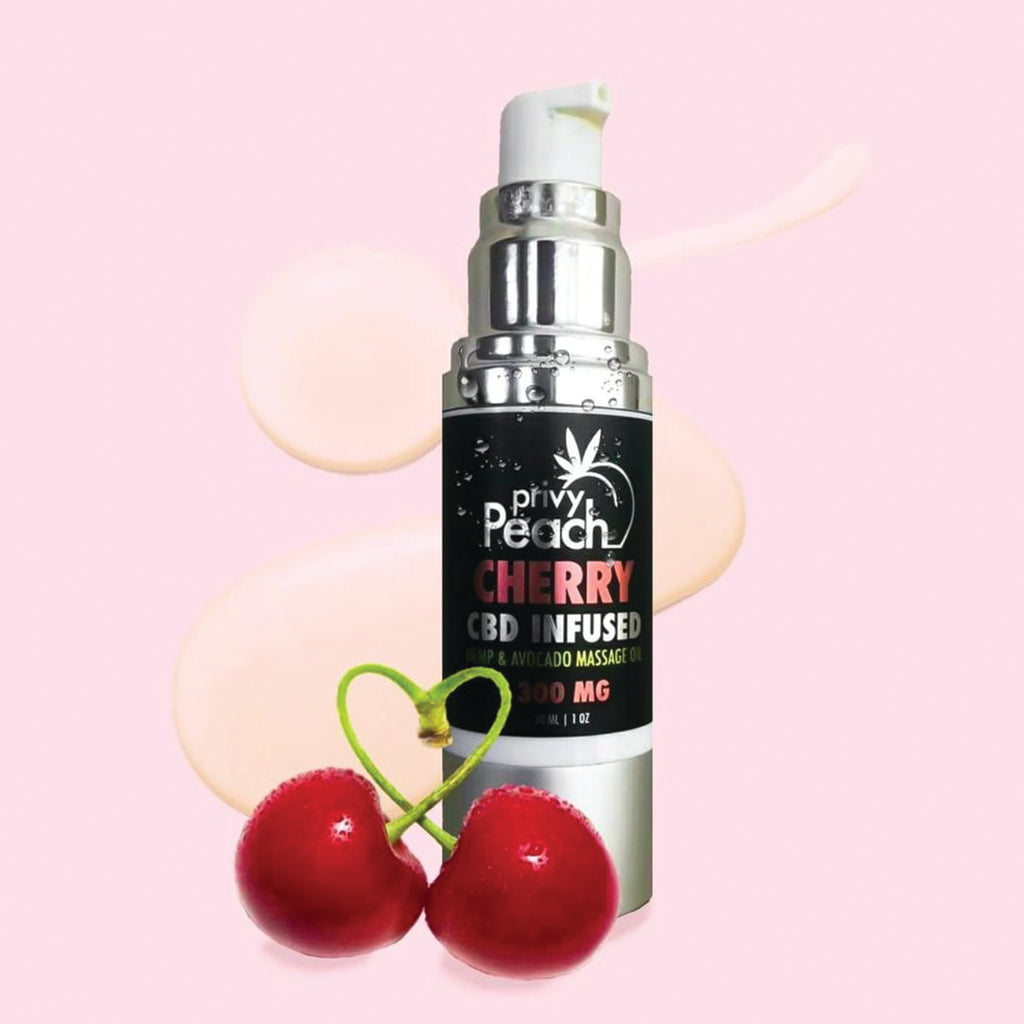 Privy Peach CBD Cherry Massage Oil 1oz-300mg - Casual Toys