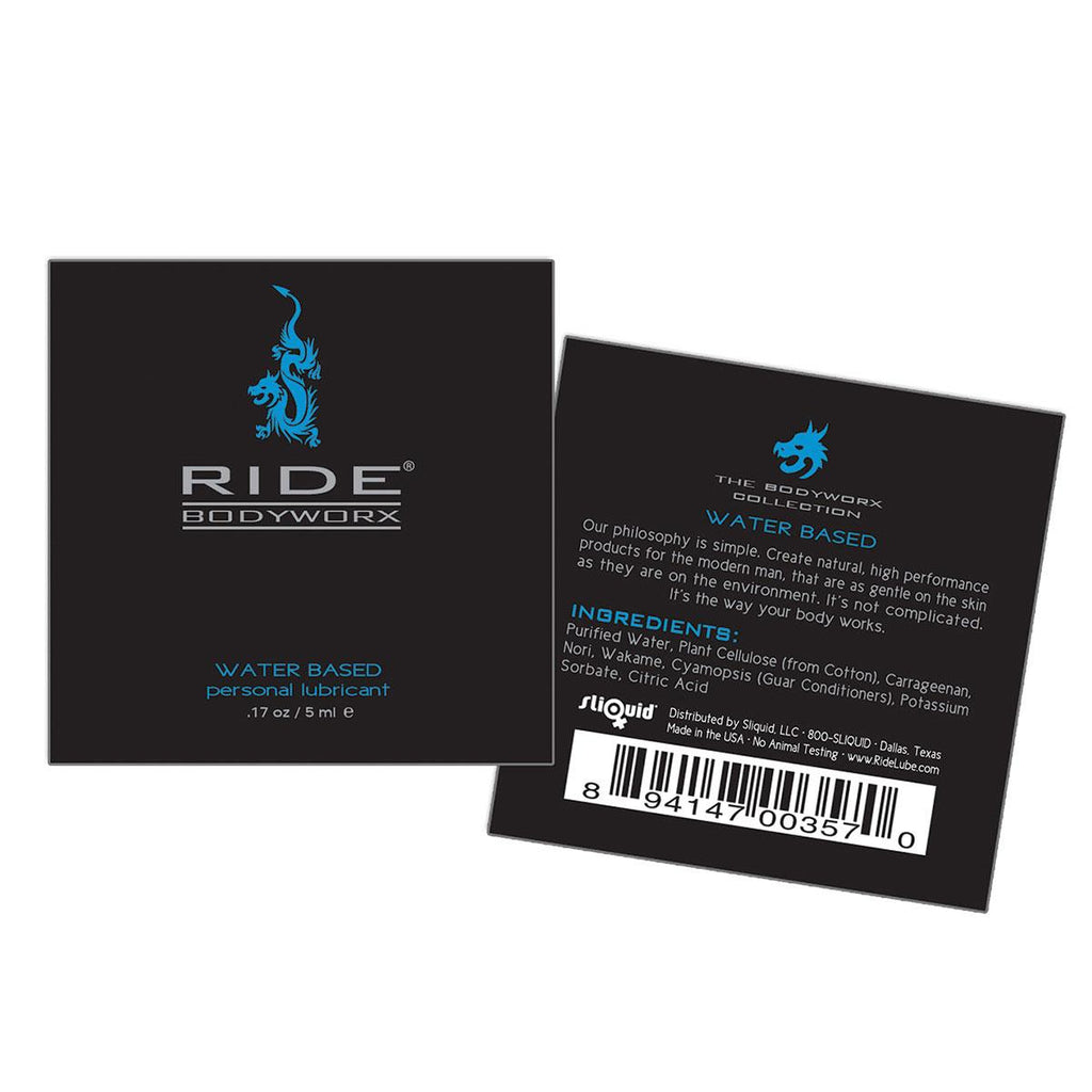 Ride BodyWorx Lube Water Based - 200 Pillow Packs