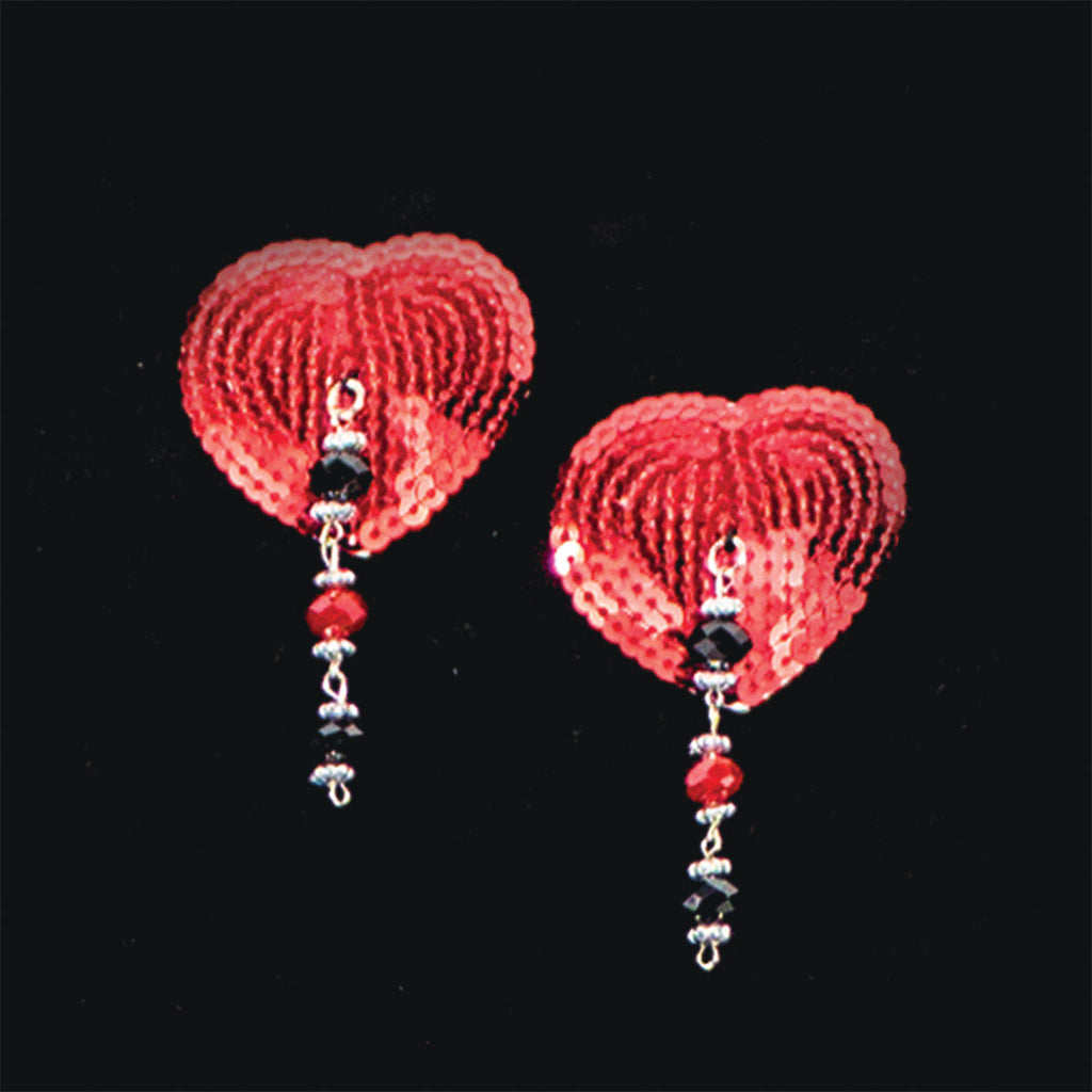 Bijoux de Nip Heart Red Sequin Pasties w- Facet Beads
