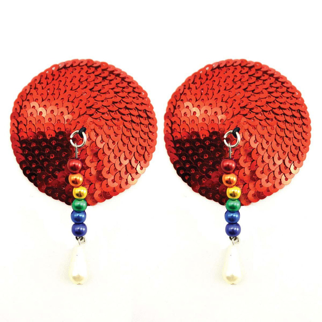 Bijoux de Nip Round Red Sequin Pasties w- Rainbow Beads