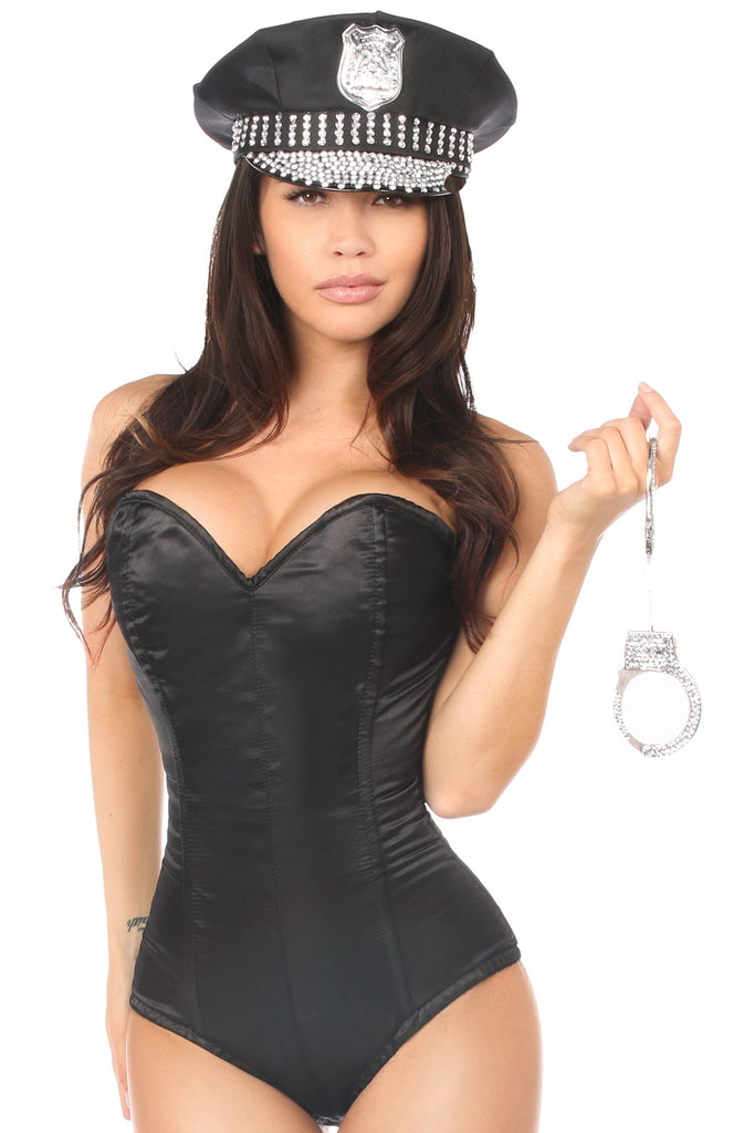 Lavish 3 PC Rhinestone Cop Costume - Casual Toys