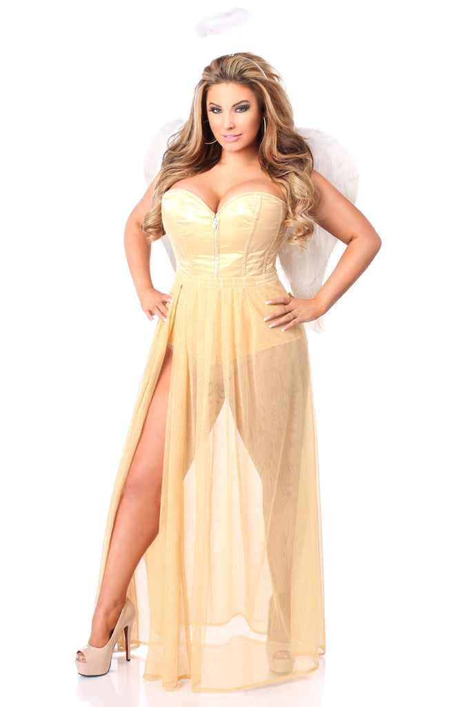 Lavish 4 PC Golden Angel Corset Costume - Casual Toys