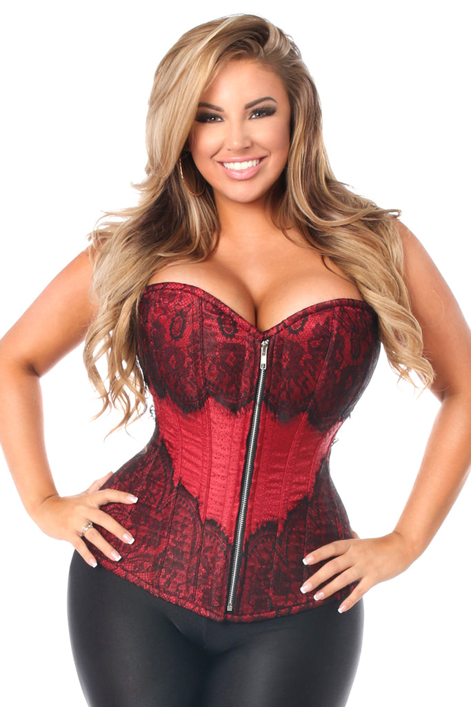 Top Drawer Wine Brocade Steel Boned Corset w/Black Eyelash Lace - Casual Toys