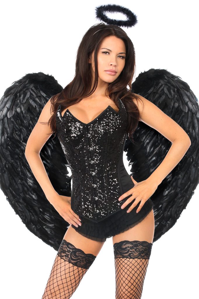 Top Drawer 4 PC Sequin Black Angel Corset Costume - Casual Toys
