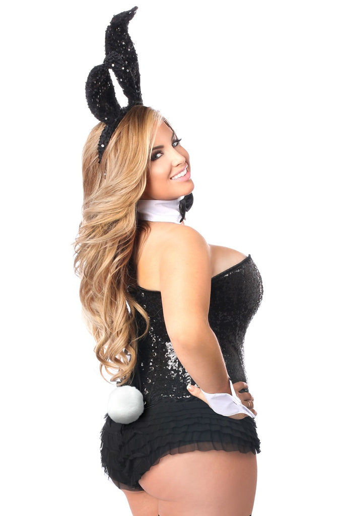 Top Drawer Black Sequin Tuxedo Bunny Corset Costume - Casual Toys