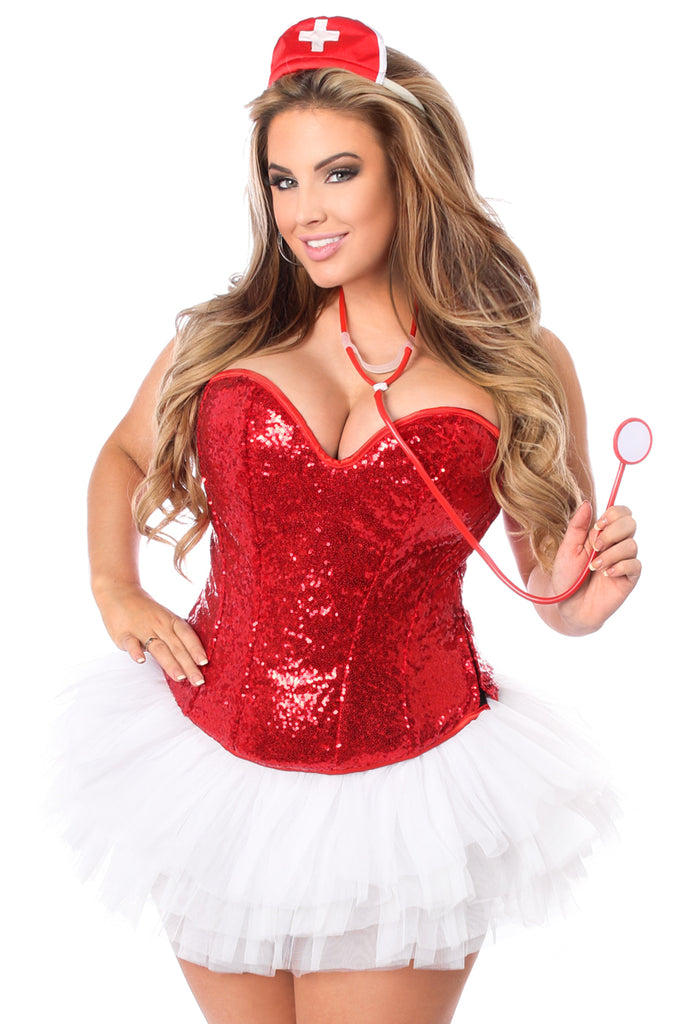 Top Drawer 4 PC Sequin Nurse Corset Costume - Casual Toys