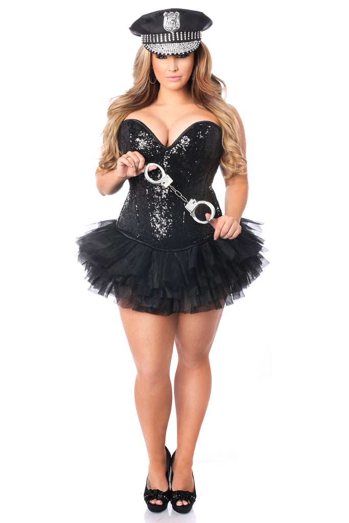 Top Drawer 4 PC Sexy Cop Corset Costume - Casual Toys