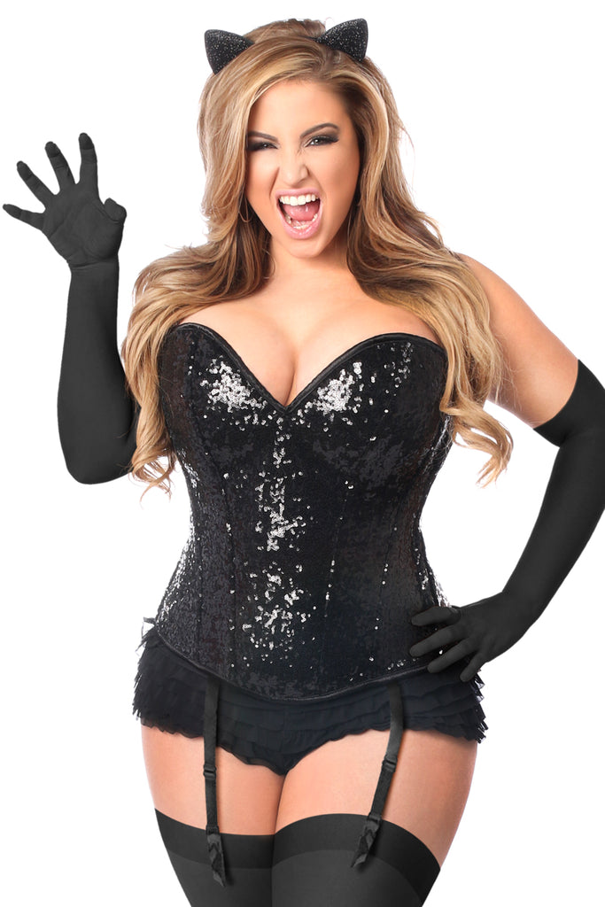 Top Drawer 4 PC Sequin Black Cat Corset Costume - Casual Toys