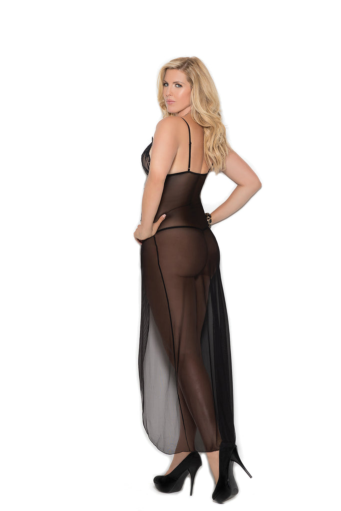 Long Mesh Gown W/lace Insert - Casual Toys