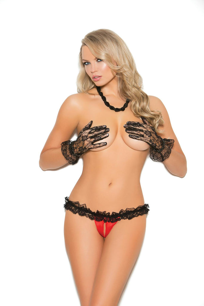 Satin & Lace Crotchless Panty - Casual Toys