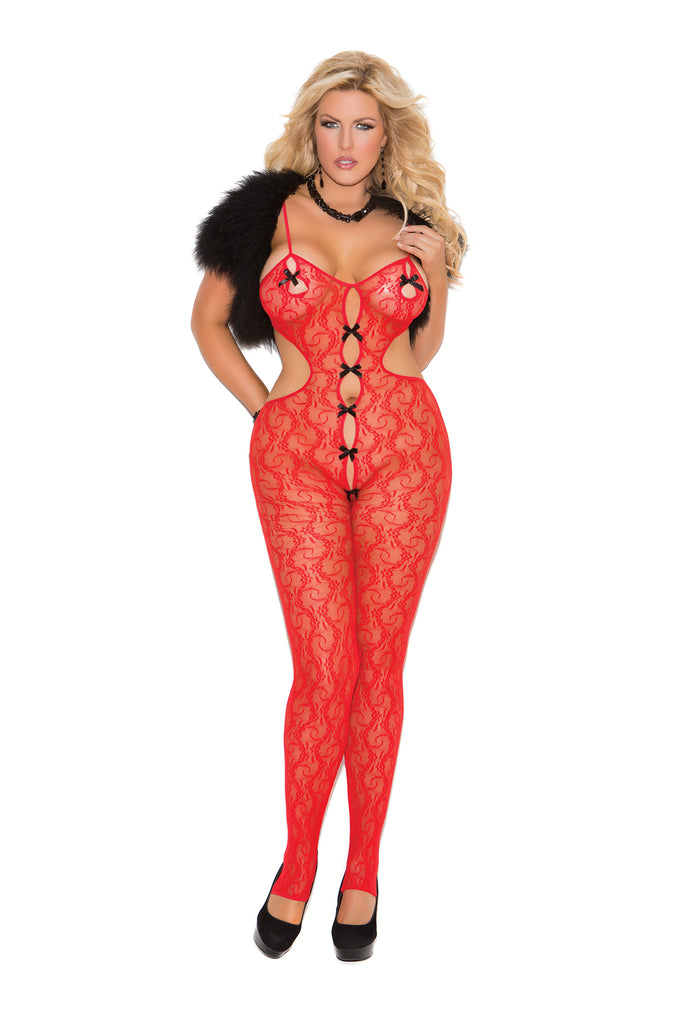 Lace Bodystocking W-bow Detail - Casual Toys