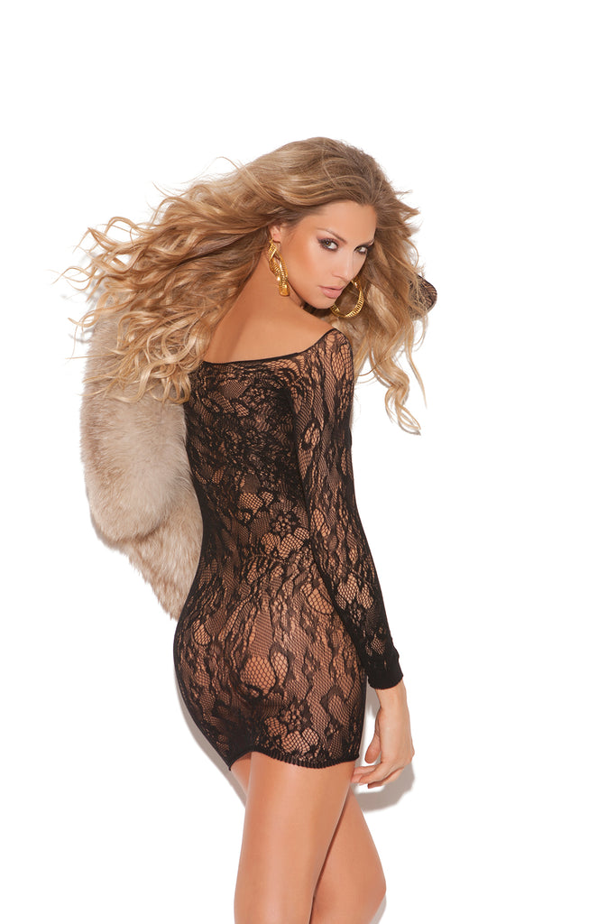 Long Sleeve Lace Mini Dress - Casual Toys