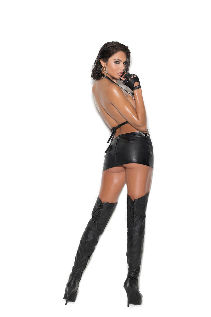 Leather Dress With Chain Front - Casual Toys