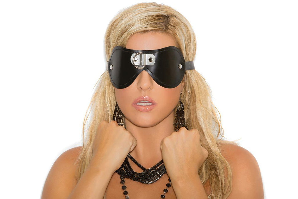 Leather Blindfold W- 'd' Ring - Casual Toys