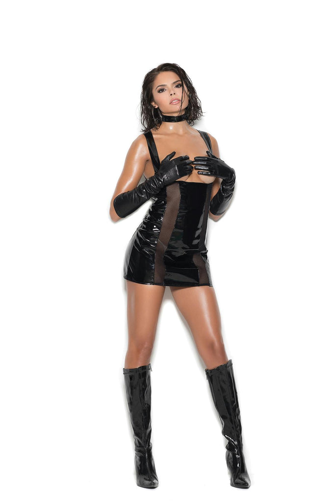 Vinyl & Fishnet Cupless Dress - Casual Toys
