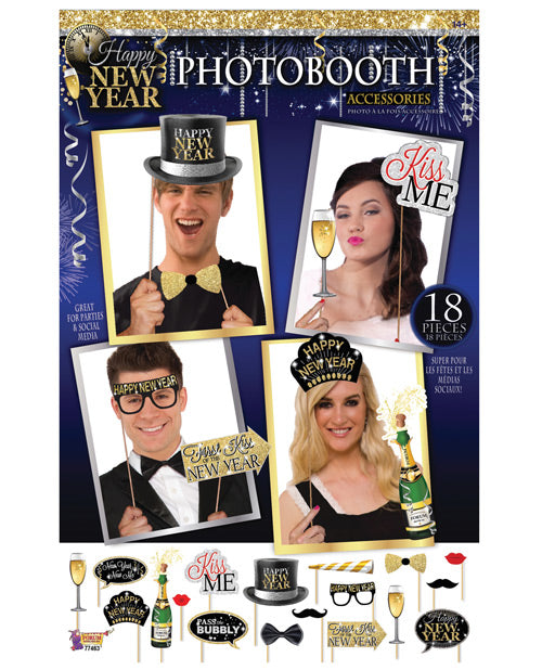 Happy New Year Photo Booth Prop Kit - Set Of 18 Pc - Casual Toys