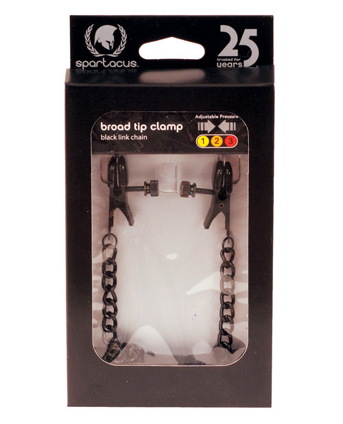 Spartacus Blackline Broad Tip Adjustable Nipple Clamps W-chain - Black
