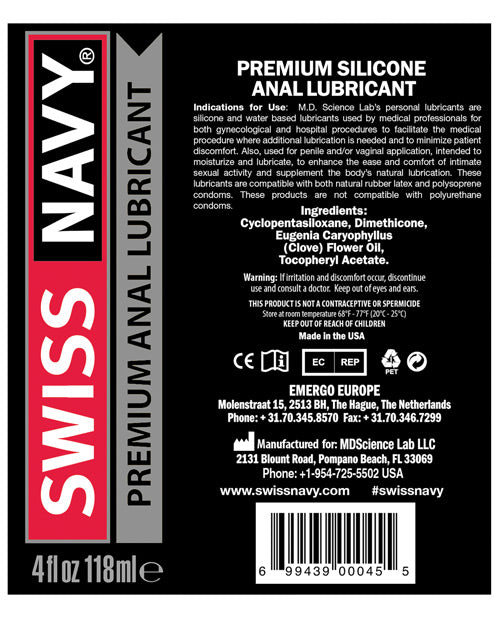 Swiss Navy Anal Lube - 4 Oz - Casual Toys