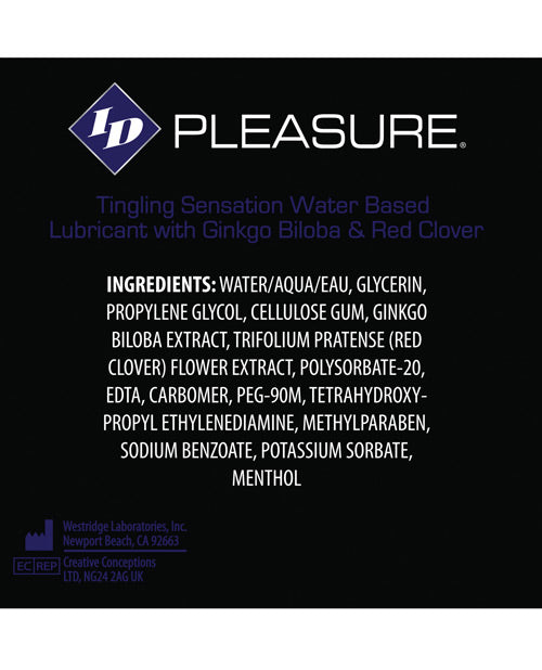 Id Pleasure Waterbased Tingling Lubricant - 4 Oz Tube - Casual Toys
