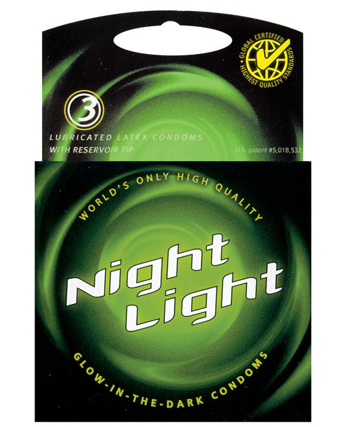 Night Light Glow In The Dark Condom - Box Of 3 - Casual Toys