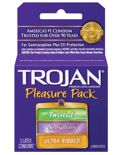 Trojan Pleasure Pack Condoms - Box Of 3 - Casual Toys