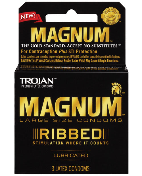 Trojan Magnum Ribbed Condoms - Box Of 3 - Casual Toys