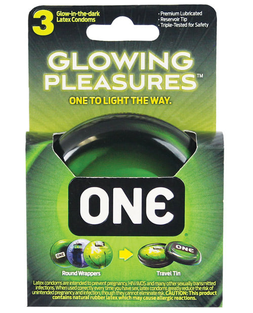 One Glowing Pleasures Condoms - Box Of 3 - Casual Toys