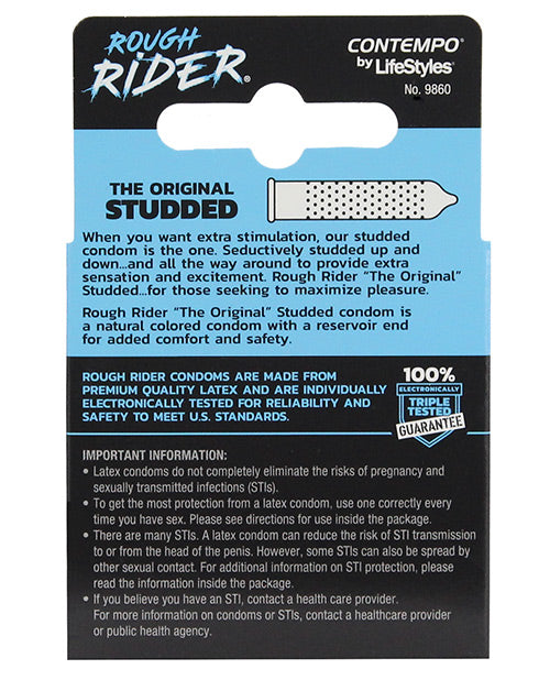 Contempo Rough Rider Studded Condom Pack - Pack Of 3 - Casual Toys