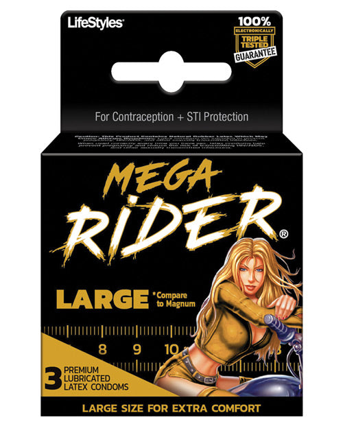 Contempo Mega Rider Large Condom - Pack Of 3 - Casual Toys