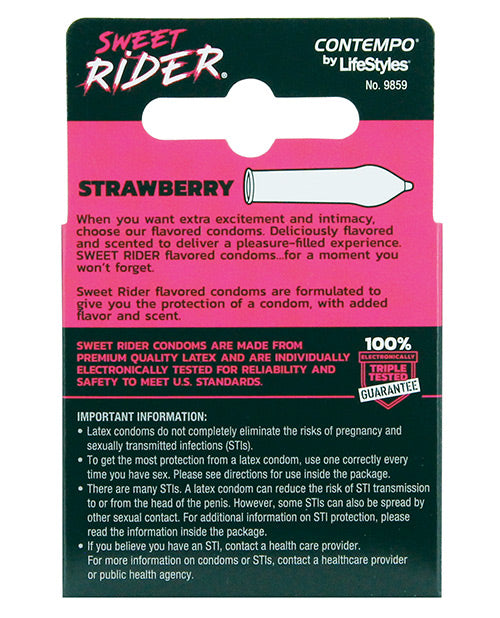 Contempo Sweet Rider Condoms - Strawberry Pack Of 3 - Casual Toys