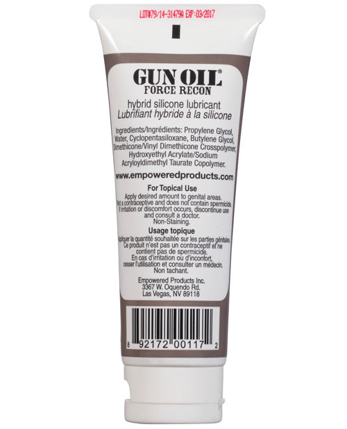 Gun Oil Force Recon Hybrid Silicone Based Lube - 3.3 Oz Tube - Casual Toys