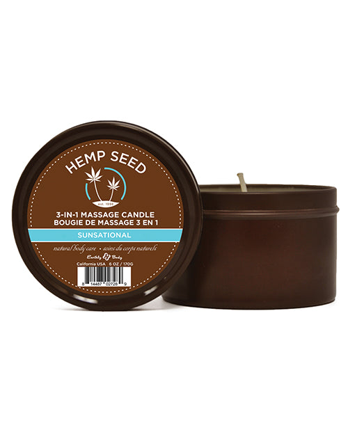 Earthly Body Suntouched Hemp Candle - 6 Oz Round Tin Sunsational - Casual Toys