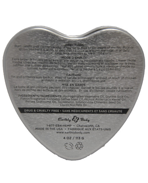 Earthly Body Suntouched Hemp Edible Candle - 4.7 Oz Heart Tin Chocolate