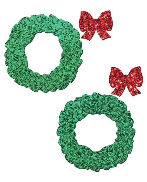 Pastease Glitter Wreath W-bow Nipple Covers - Red O-s