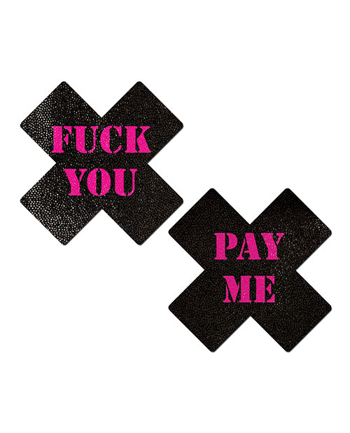 Pastease Fuck You Pay Me Cross - Black-pink O-s - Casual Toys