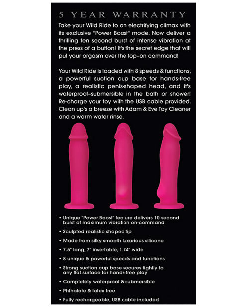 Adam & Eve Wild Ride W-power Boost, Harness Compatible Vibrator