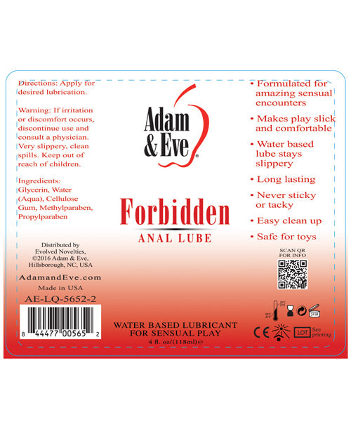 Adam & Eve Forbidden Anal Water Based Lube - 4oz - Casual Toys