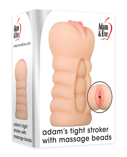 Adam & Eve Adam's Tight Stroker W-massage Beads - Ivory - Casual Toys